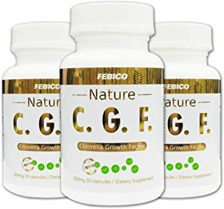 FEBICO Chlorella Growth Factor- Natural CGF Capsules 500mg-3 Month Supply, Non-GMO, Vegan, Supports Immunity and Skin Health