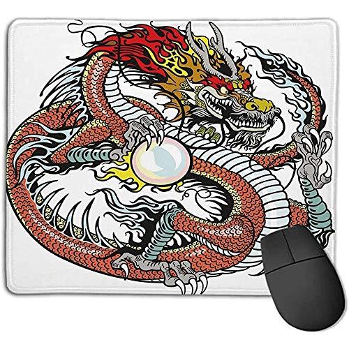 Mouse Pad Drago Creatura Cinese Tradizionale In Possesso Di Una Grande Perla Segni Zodiacali Folk Graphic Tattoo