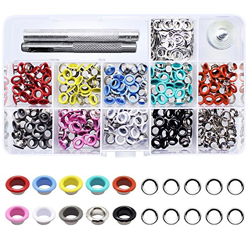 Yotako 300 Pieces Grommet Kit Metal Eyelet Kit,Grommet Tool Grommet Punch for Bag,Clothes Carfts,3/16 Inch 10 Colors