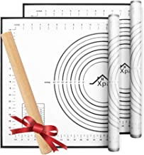 Silicone Pastry Mat 2 Pieces, Xpatee Pastry Mat with Measurement and a Rolling Pin for Counter Mat, Dough Rolling, Baking ...
