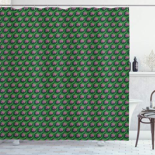 ABAKUHAUS Distel Duschvorhang, Curvy Zweige Blütenblätter, mit 12 Ringe Set Wasserdicht Stielvoll Modern Farbfest & Schimmel Resistent, 175x200 cm, Lindgrün Farngrün & Rosa
