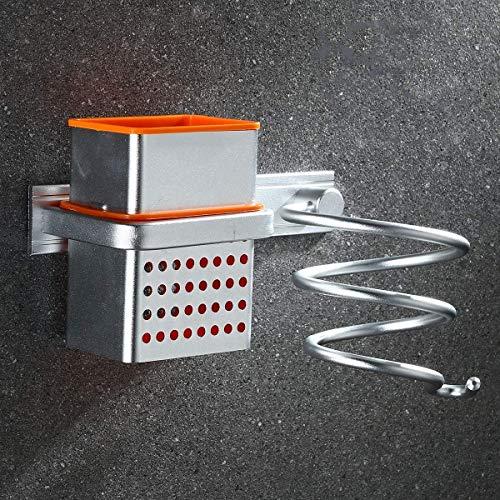 Porta Phon da Muro Senza Foratura, Porta Asciugacapelli da Parete in Alluminio, Organizer Bagno per Phon, Piastra e Accessori - Porta Asciugacapelli da agganciare alla porta (Argento, 1 Tazza)