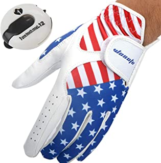 wosofe Golf Glove for Men's Left Hand White Soft Leather USA Flag Breathable Professional