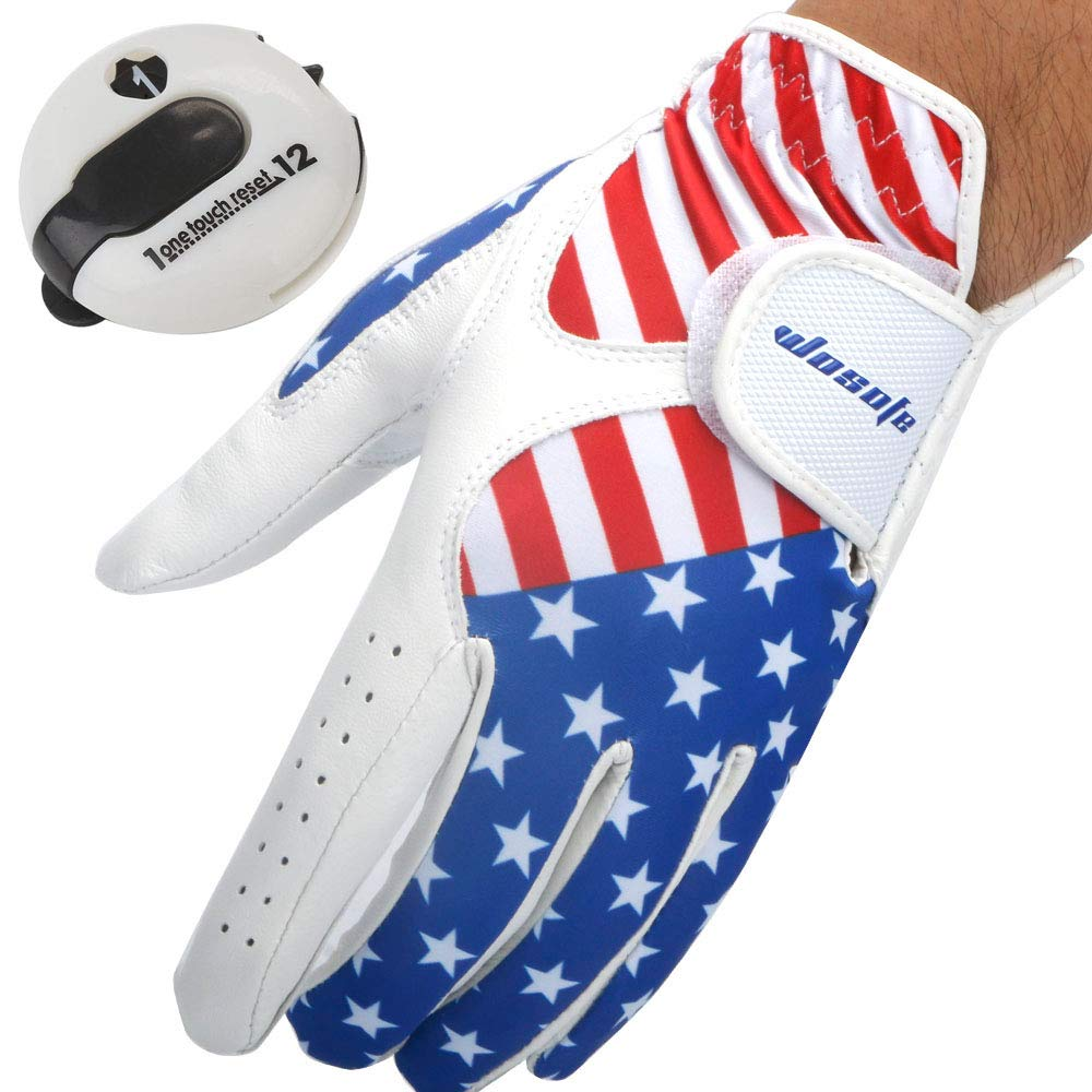 USA Flag Golf Gloves for Men's Left Hand White Soft Leather Breathable Professional Golf Hand Wear with Mini Golf Stroke Counter Scorekeeper Scoring Tool Score