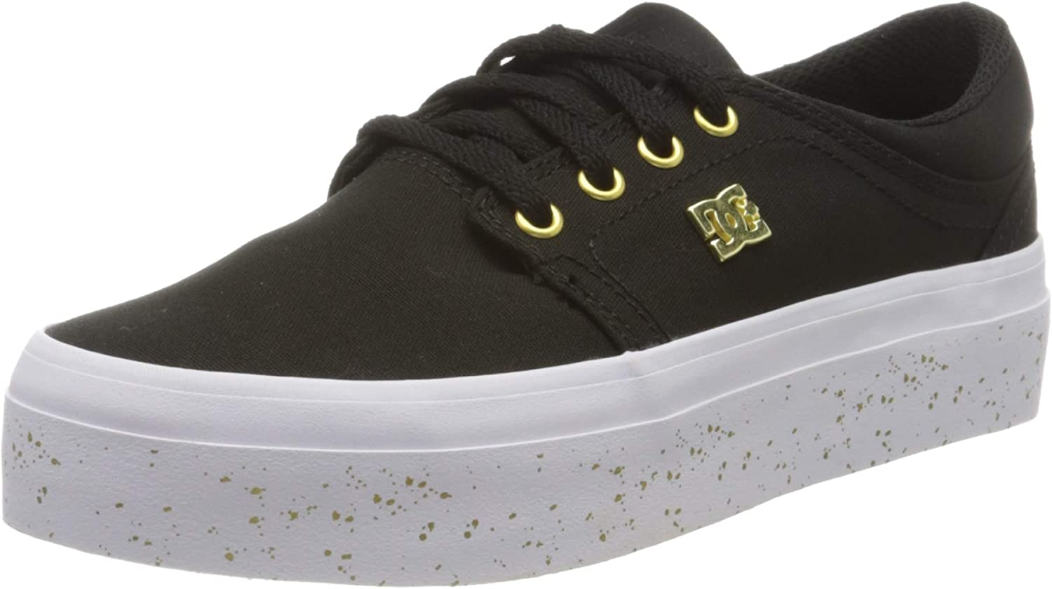 Dc Shoes Trase Platform Womens Canvas Trainers In Lime Size UK 3-8