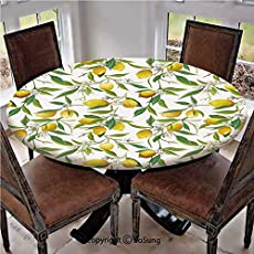 """Elastic Edged Polyester Fitted Table Cover,Flowering Lemon Woody Plant Romance Habitat Citrus Fresh Background,Fits up 40\\""""-44\\"""" Diameter Tables,The Ultimate Protection for Your Table,Fern Green Yellow"""