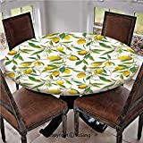 "Elastic Edged Polyester Fitted Table Cover,Flowering Lemon Woody Plant Romance Habitat Citrus Fresh Background,Fits up 40""-44"" Diameter Tables,The Ultimate Protection for Your Table,Fern Green Yellow"