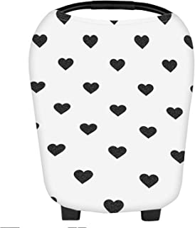 Nursing Cover Carseat Canopy Super Soft Stretchy Cover Multi Use for Newborn Boys Girls Shopping Cart Cover Scarf Light Blanket Stroller Cover (Sweetheart)