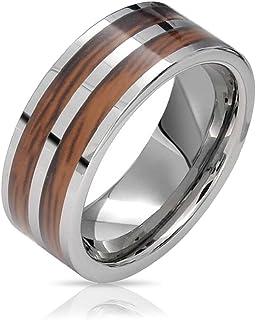 Bling Jewelry Anelli per la Fede Nuziale in Titanio in Legno koa Marrone a Doppia Fila per Uomo per Donna Silver Tone Comf...