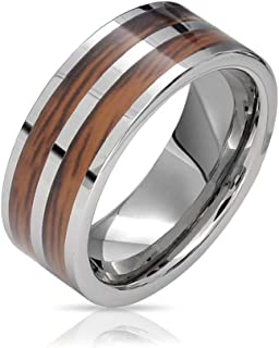 Double Row Koa Wood Inlay Titanium Wedding Band Rings for Men for Women Silver Tone Comfort Fit 8MM