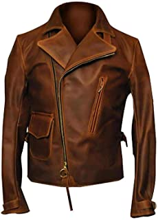Men's Vintage Classic Motorcycle Asymmetrical Style Distressed Brown Biker Genuine Leather Jacket