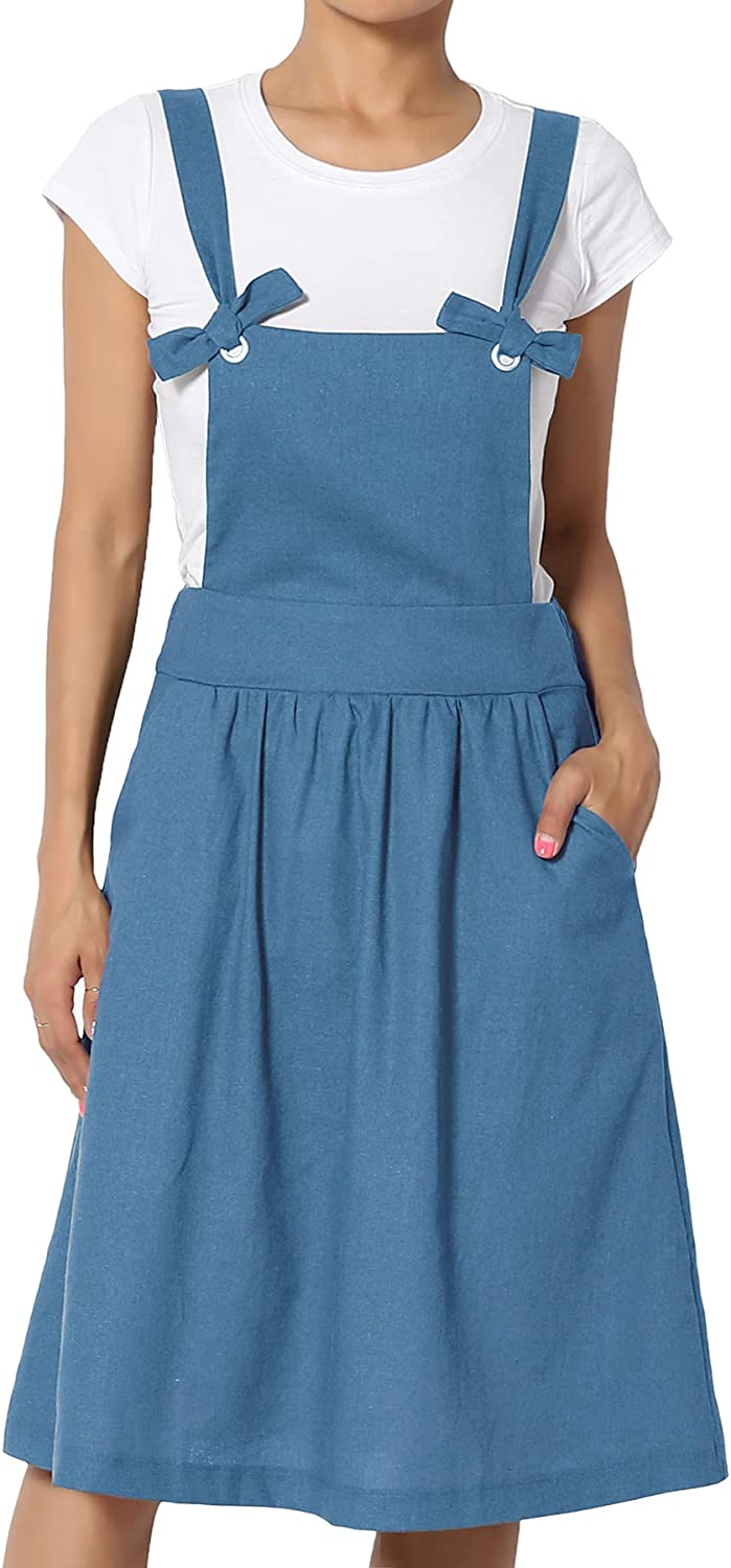 TheMogan Casual Button Front Tank Strap Stretch Fitted Denim Overall Dress