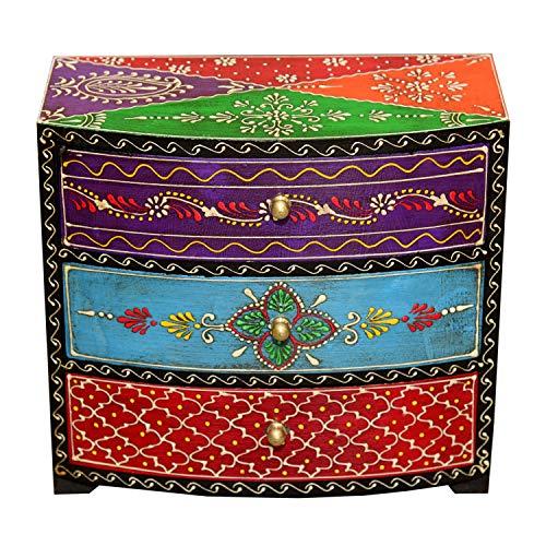 Casa Moro Orientalische Mini-Kommode handbemaltes Holz-Kästchen Manara mit 3 Schubladen bunt 24x11x22 (B/T/H) Die Originelle Geschenk-Idee für die Dame Freundin Muttertag | MA23-07