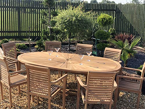 chelsea home and leisure ltd teak Garden Furniture premium oval table with 8 teak stacking chairs