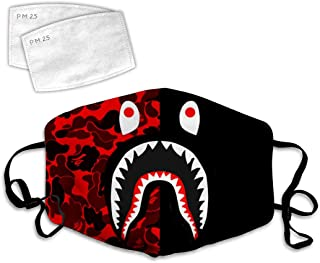 389 Bape Shark Camo 7 Dust Face Cover Adjustable Mouth Mask Balaclava Bandanas Washable Reusable with Filter Paper for Kids Teens Men Women
