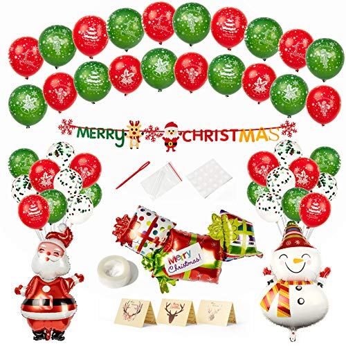 60 Pcs Christmas Party Decorations Christmas Supplies Santa Claus Foil Balloons Merry Christmas Banner Confetti Latex Balloons Snowman Christmas Gift for New Year Party Home Decor