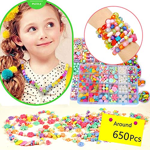 MeGaLuv 650Pcs DIY Beads Set with, 24 Different Types and Shapes Colorful Acrylic Beads in a Box for Children Necklace and Bracelet Crafts, Gift Kit for Kids