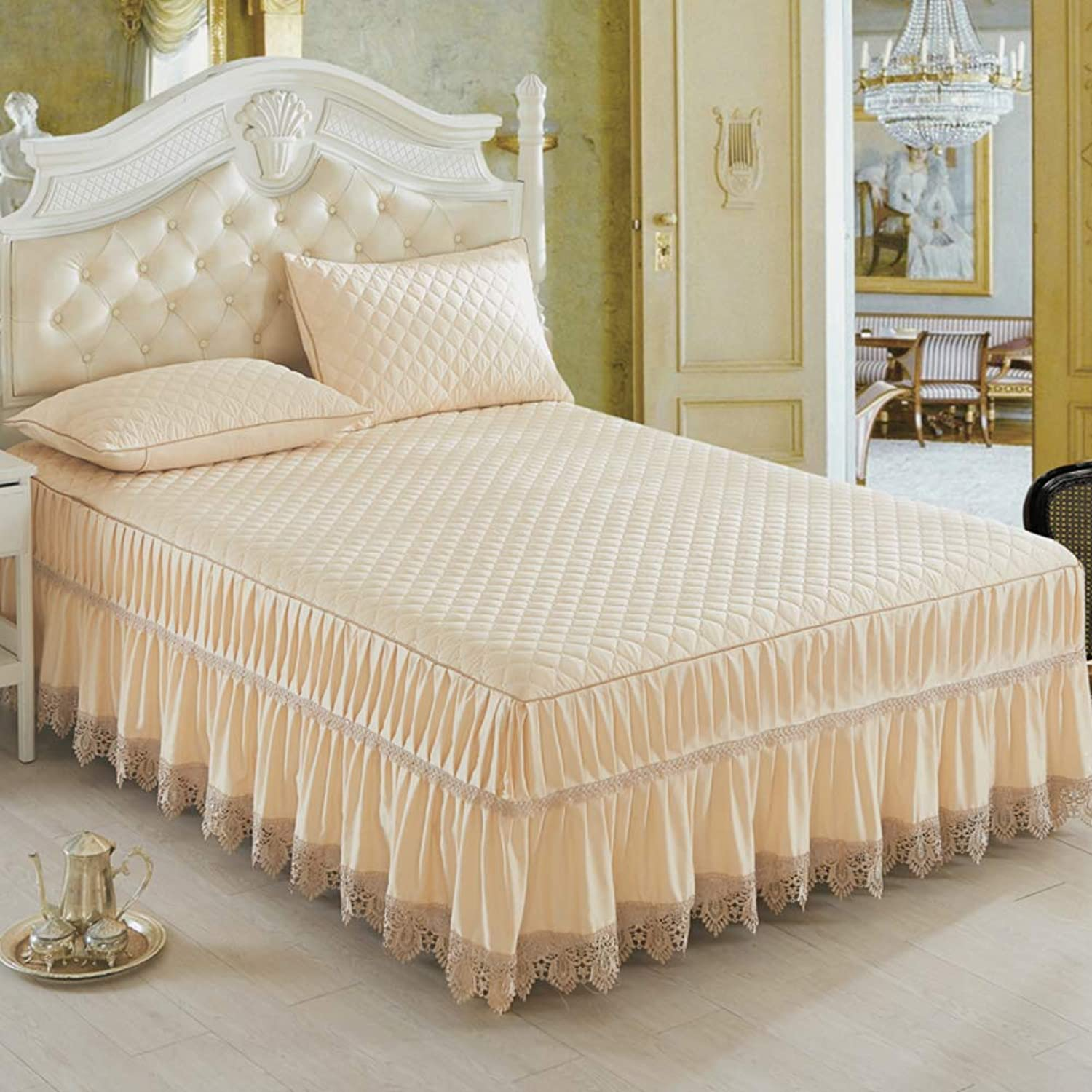 100% Cotton Bed Skirt,Lace Thicked Bed Cover Single Piece Air Conditioning Soft Seat Bed Skirt Elastic Dust Ruffle Easy Fit Wrinkle-F 150x200cm(59x79inch)