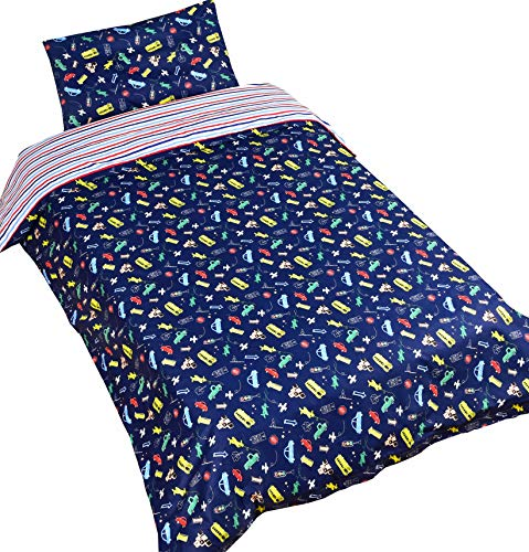 MEJU Cars 100% Cotton Duvet Cover + Pillowcase Bedding Set with Zipper Closure for Baby Toddler Boys Girls Crib Bed Decoration Gift (Cars)