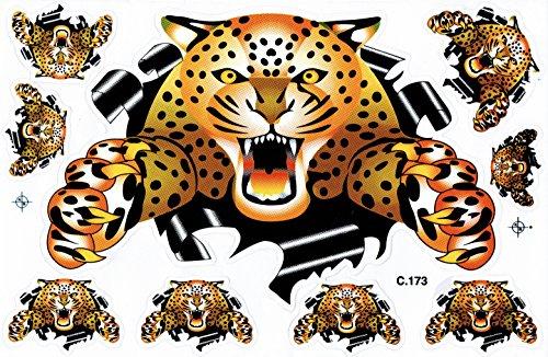 Leopard bunt Sticker Aufkleber Folie 1 Blatt 270 mm x 180 mm wetterfest