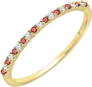 10K 黄金圆形红宝石和白钻女士周年结婚可叠放戒指