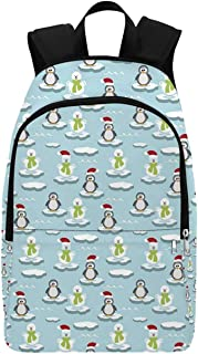 Kids Durable Backpack,Cute Penguins and Snowmans on Ice Floes Antarctica Cartoon Caps Scarfs Funny Pattern for Adults,11.81