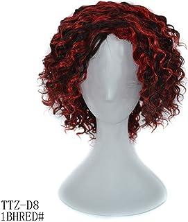 BOBIDYEE 100%リアルヘアディープカーリーブラックハイライトレッドウィッグ14インチ髪フルヘッド女性用ウィッグ (色 : レッド, サイズ : 14inch)