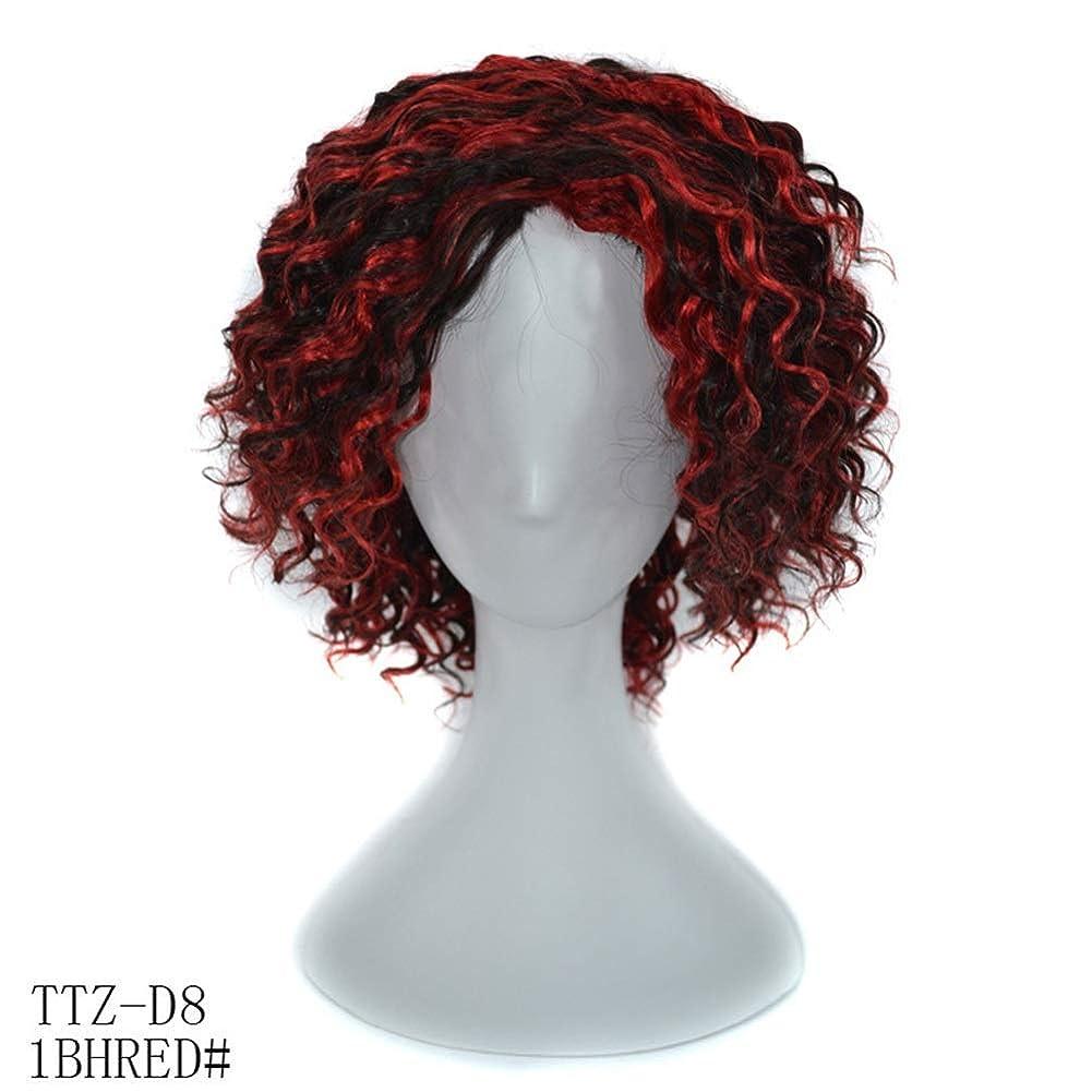 つかまえるシーサイド日記YAHONGOE 100%リアルヘアディープカーリーブラックハイライトレッドウィッグ14インチ髪フルヘッド女性用ウィッグ (色 : レッド, サイズ : 14inch)
