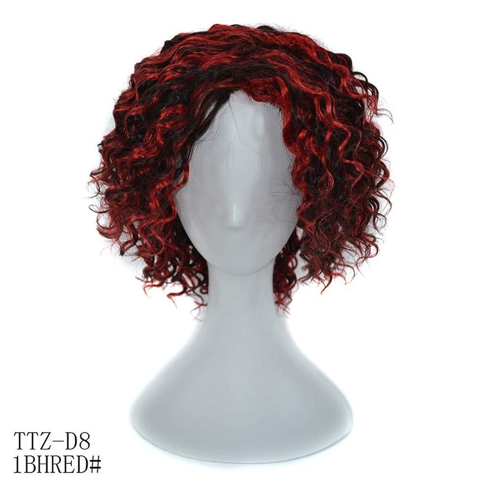牽引ファンブル夢中かつら 100%リアルヘアディープカーリーブラックハイライトレッドウィッグ14インチ髪フルヘッド女性用ウィッグ (色 : レッド, サイズ : 14inch)