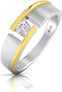 14K Gold with 0.23 Carats Split groove men's solitaire ring - RM1269 (G Color, VS1 Clarity)
