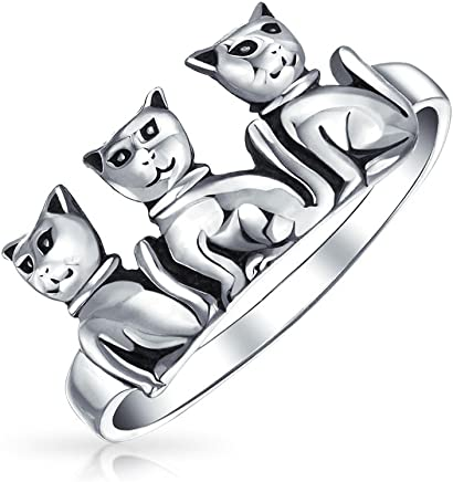Bling Jewelry 贝灵珠宝 三只小憩的猫 复古风格 纯银动物造型戒指 纽约直邮 【亚马逊海外卖家】
