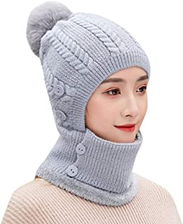 iNoDoZ Unisex Multi-Function Winter Warm Solid Button Thermal Knitted Scarf Woolen Hat