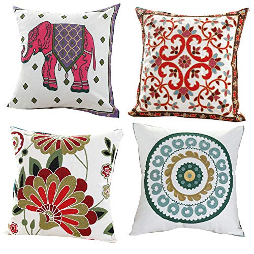 QMZ Toalla bordada algodón bordado almohada patrón de elefante cojín almohada cubierta Amazon textil hogar algodón