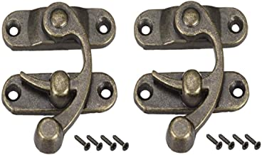 Higomall Antique Latch Hook Hasp, Swing Arm Latch Right Plated Bronze, 2 Pack