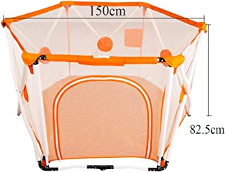 Foldable Portable Playpens Kids Safety Activity Center Area Hexagonal Infant Play Playpen with Storage Bag and Ball Extra Large Playard Fence for 0-5 Ages Children