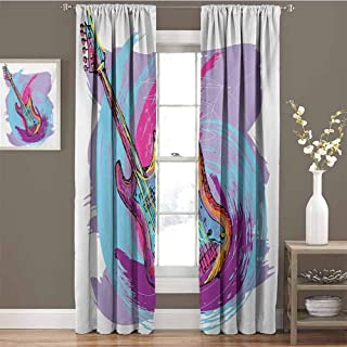 Grunge All Season Insulation Hand Drawn Electric Guitar with Motley Curved Grunge Effects Modern Music Icon Noise Reduction Curtain Panel Living Room W54 x L95 Inch Pink Purple Blue