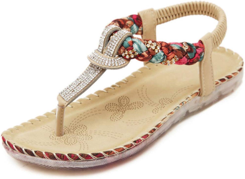 MEIZOKEN Womens T-Strap Rhinestone Bohemian Sandals Elastic Sparkle Ankle Strap Summer Beach Flat shoes