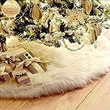 R Faldas para árbol de Navidad, 91,4 cm, color blanco de felpa de lujo, falda para árbol de Navidad, falda de árbol de Navidad, cubierta base para fiestas, vacaciones, decoración de Navidad interior
