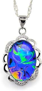 Swirl Color Change Oval Crystal Stone Brass Flower Pendant Mood Necklace 18
