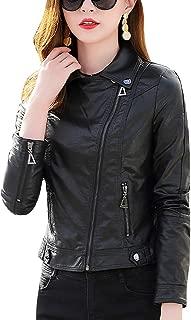 DISSA PWAY66121 Women Faux Leather Biker Jacket Slim Coat Leather Jacket