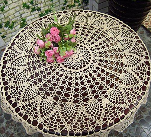 HANSHI handgefertigte ausgehöhlte Tischtücher Häckeln Rundes Tischtuch aus Lace weiße Tischdecke für Möbel Dekoration für Hochzeit(HZQ-06-C,100cm)