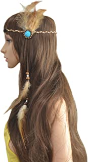Boho Handmade Rope Leather Brown Feather Headbands with Wood Beads - Fashion Indiana Ethnic Fascinator Feather Hairband Headdress Hair Accessories for Women Lady