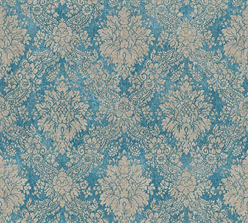 A.S. Création Vliestapete Secret Garden Tapete neo-barock 10,05 m x 0,53 m blau braun metallic Made in Germany 336075 33607-5