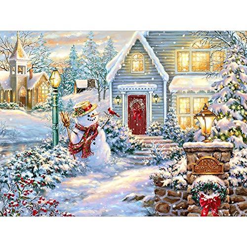 ANnjab 5D Diamond Embroidery Christmas Snow House Landscape Handmade Diamond Painting Winter Needlework Mosaic Cross Stitch Home Decoration Square 30x40cm