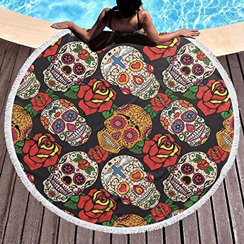 Toalla de Playa Redonda de Calavera de azúcar Mexicana con Rosa, Ultra Suave, Absorbente de Agua, Manta de Playa Multiusos para Manta de Picnic, Esterilla de Yoga, Cubierta de Piscina