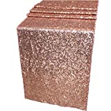 Jooikos Sequin Table Runner Rose Gold Color, 12 by 72 Inches Glitter Gold Decorative Fabric for Wedding,Birthday,Baby Shower's Parties and Festival Decorations