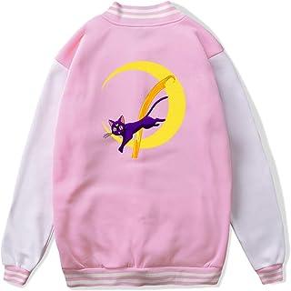 VJJ AIDEAR Luna (Sailor Moon) Baseball Uniform Jacket Sport Coat Child Long Sleeve Hoodie Hooded Sweatshirt Black