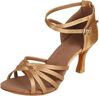 HIPPOSEUS Zapatillas de Baile Latino para Mujer/Satén/Altura del tacón 5CM / 7CM, Modelo ES213