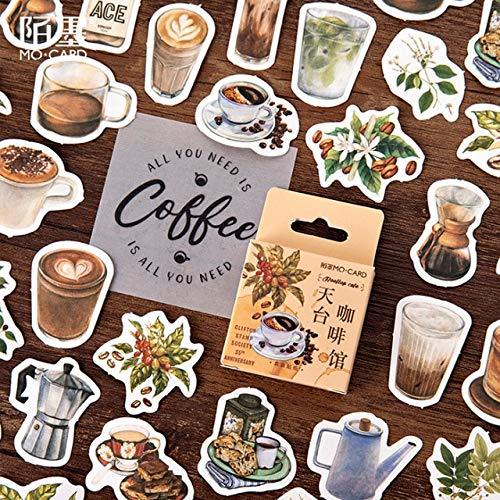 BLOUR 46 Piezas Cafetera en la azotea Caja de Pegatinas Café Vintage Pegatinas DIY Decoración Pegatinas Scrapbooking Material Escolar de Oficina para niños 46 Piezas por Paquete: Amazon.es: Coche y moto