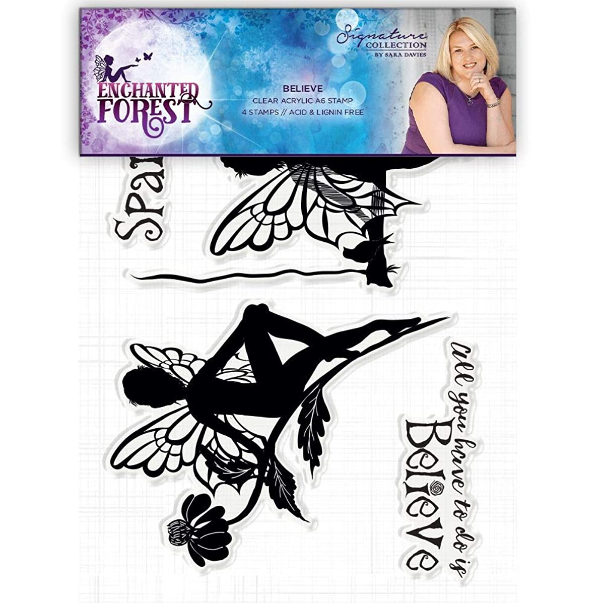 Sara Signature S-EF-ST-BE Enchanted Forest Believe Clear Acrylic Stamp, Silver